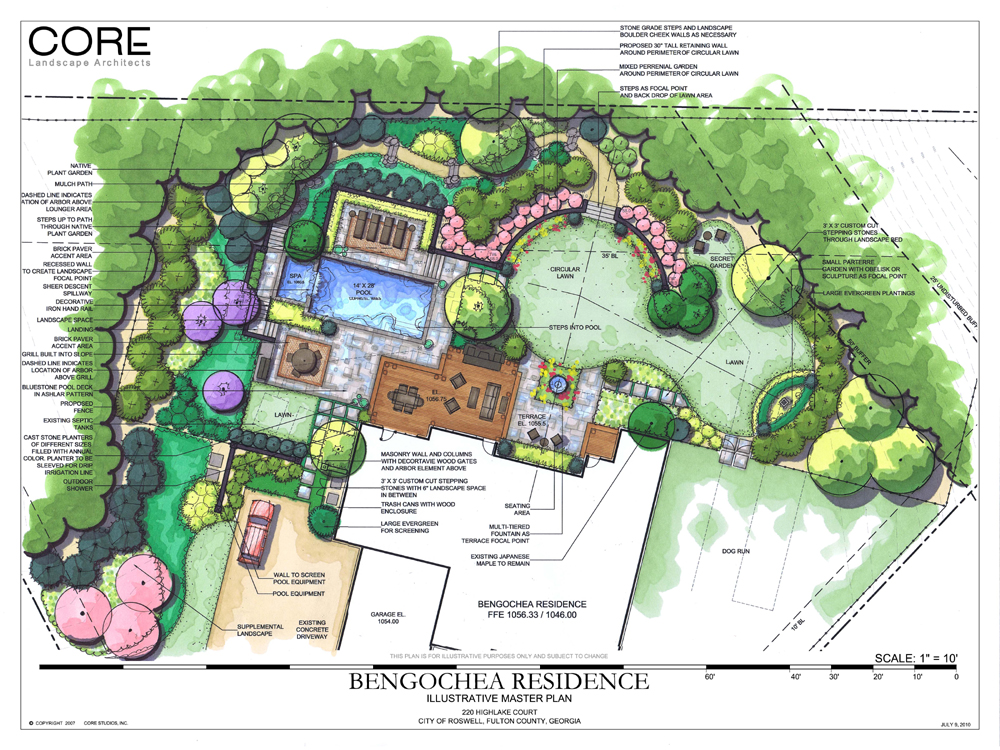 Roswell backyard initial goals and the after jones pierce Site plan design